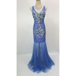 NWT Jovani Authentic Royal Beaded Halter Open-Back